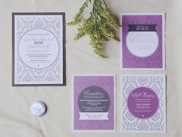 The panik studio wedding invitations freelance graphic design a m wedding invitation stopboris Image collections